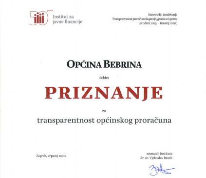 Priznanje za transparentnost proračuna Općine Bebrina 2020